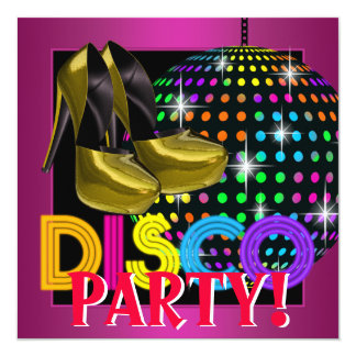 Hot Pink Disco Dance Party 13 Cm X 13 Cm Square Invitation Card