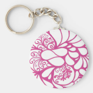 Hot Pink Doodle Basic Round Button Key Ring
