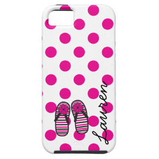 Hot Pink Dots & Flip Flops Phone Case iPhone 5 Covers