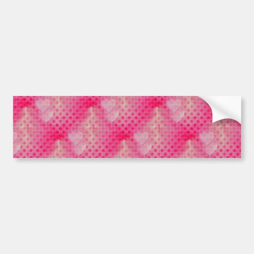 Hot Pink Double Hearts Polka Dots Valentine's Day Bumper Sticker
