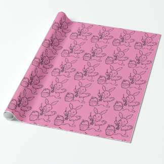 Hot Pink Easter Bunny Wrapping Paper
