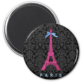 Hot Pink Eiffel Tower in faux glitter 6 Cm Round Magnet