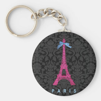 Hot Pink Eiffel Tower in faux glitter Basic Round Button Key Ring