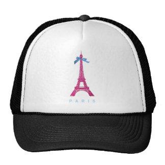 Hot Pink Eiffel Tower in faux glitter Cap