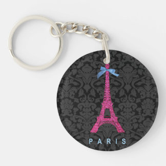 Hot Pink Eiffel Tower in faux glitter Double-Sided Round Acrylic Key Ring