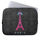 Hot Pink Eiffel Tower in faux glitter Laptop Sleeve