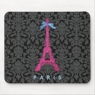 Hot Pink Eiffel Tower in faux glitter Mouse Pad