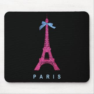 Hot Pink Eiffel Tower in faux glitter on black Mousepads