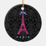 Hot Pink Eiffel Tower in faux glitter Round Ceramic Decoration