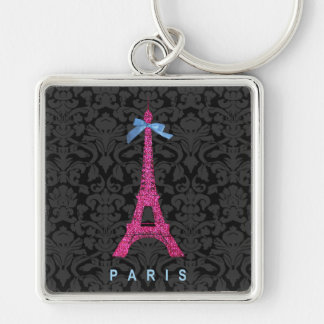 Hot Pink Eiffel Tower in faux glitter Silver-Colored Square Key Ring