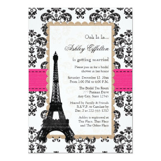 Hot Pink Eiffel Tower Parisian Bridal Shower 13 Cm X 18 Cm Invitation Card