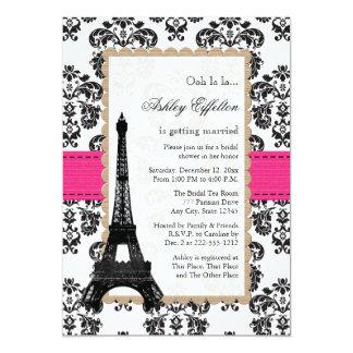 Hot Pink Eiffel Tower Parisian Bridal Shower 13 Cm X 18 Cm Invitation Card