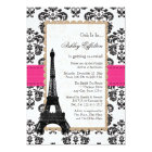Hot Pink Eiffel Tower Parisian Bridal Shower Card