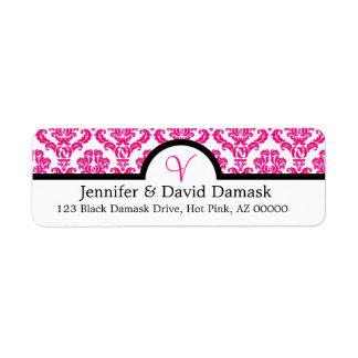 Hot Pink Elegant Monogram V Damask Return Address Label