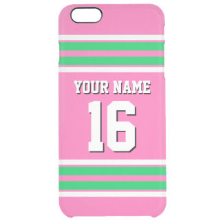 Hot Pink Emerald Team Jersey Custom Number Name Clear iPhone 6 Plus Case