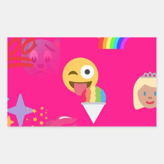 hot pink emoji rectangular sticker