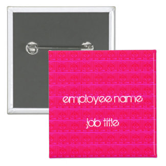 Hot Pink Employee Name Tag Button