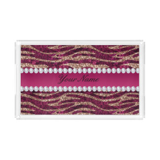 Hot Pink Faux Foil Zebra Stripes Rose Gold Acrylic Tray