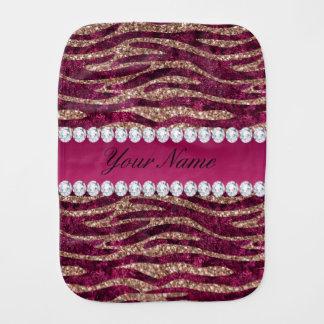 Hot Pink Faux Foil Zebra Stripes Rose Gold Baby Burp Cloth