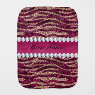 Hot Pink Faux Foil Zebra Stripes Rose Gold Burp Cloth
