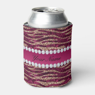 Hot Pink Faux Foil Zebra Stripes Rose Gold Can Cooler