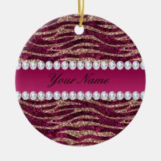 Hot Pink Faux Foil Zebra Stripes Rose Gold Ceramic Ornament