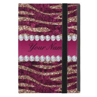Hot Pink Faux Foil Zebra Stripes Rose Gold iPad Mini Cover