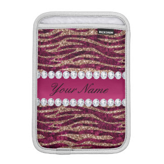 Hot Pink Faux Foil Zebra Stripes Rose Gold iPad Mini Sleeve