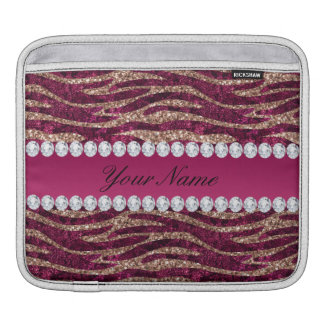 Hot Pink Faux Foil Zebra Stripes Rose Gold iPad Sleeve