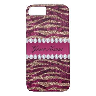 Hot Pink Faux Foil Zebra Stripes Rose Gold iPhone 8/7 Case