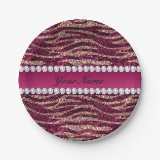 Hot Pink Faux Foil Zebra Stripes Rose Gold Paper Plate