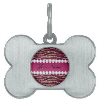 Hot Pink Faux Foil Zebra Stripes Rose Gold Pet Name Tag