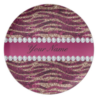 Hot Pink Faux Foil Zebra Stripes Rose Gold Plate
