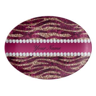 Hot Pink Faux Foil Zebra Stripes Rose Gold Porcelain Serving Platter