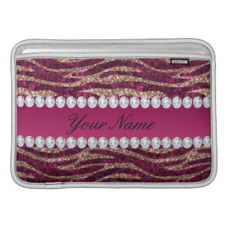 Hot Pink Faux Foil Zebra Stripes Rose Gold Sleeve For MacBook Air