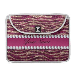 Hot Pink Faux Foil Zebra Stripes Rose Gold Sleeve For MacBook Pro