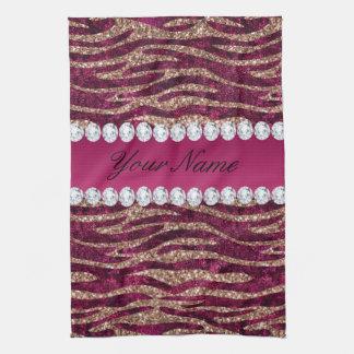 Hot Pink Faux Foil Zebra Stripes Rose Gold Tea Towel