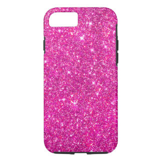 Hot Pink Faux Glitter Shining Pattern Girly iPhone 8/7 Case