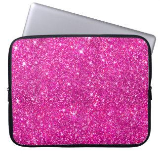 Hot Pink Faux Glitter Shining Pattern Girly Laptop Sleeve