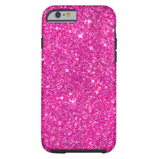 Hot Pink Faux Glitter Shining Pattern Girly Tough iPhone 6 Case
