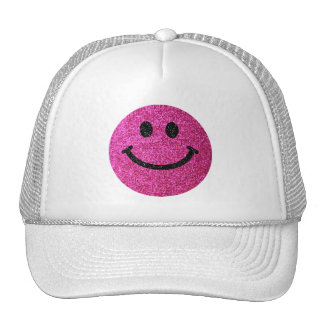 Hot pink faux glitter smiley face cap
