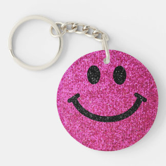 Hot pink faux glitter smiley face Double-Sided round acrylic key ring