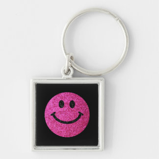 Hot pink faux glitter smiley face keychains