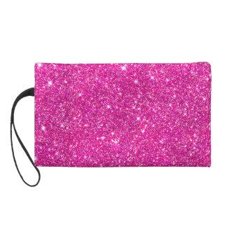 Hot Pink Faux Glitter Sparkle Pattern Girly Wristlet