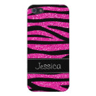 Hot Pink Faux Glitter Zebra Personalised iPhone 5/5S Cover