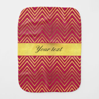 Hot Pink Faux Gold Foil Chevrons Burp Cloths