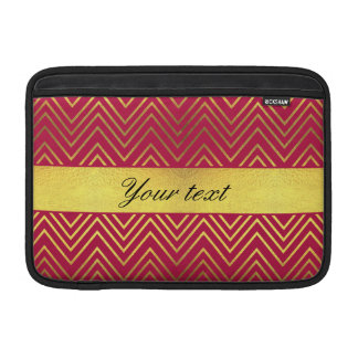 Hot Pink Faux Gold Foil Chevrons Sleeve For MacBook Air