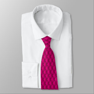 Hot Pink Faux Upholstery Pin Tucks Tie
