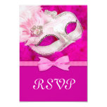 """Hot Pink Feather Mask Masquerade Party RSVP 3.5"""" X 5"""" Invitation Card"""