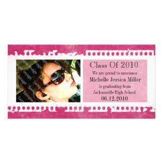 Hot Pink Film Frame Grunge Graduation Photo Card